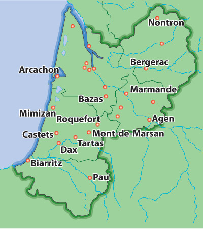 Aquitaine now expanded to Nouvelle Acquitaine, encompassing part of the Charente