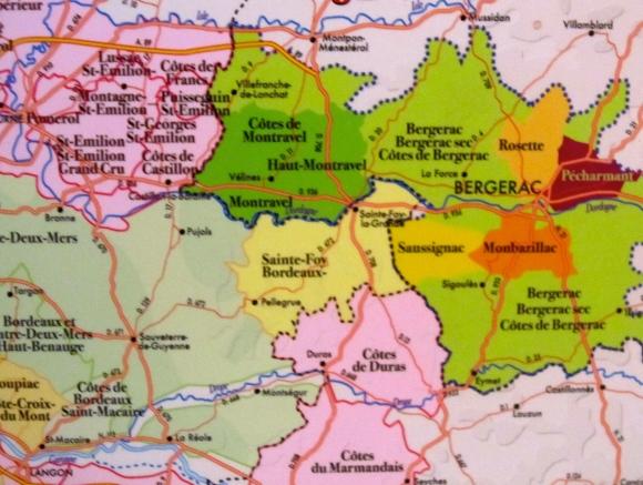 Bergerac Wine Region showing Montravel area