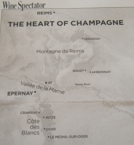 Wine Spectator map of the Heart of Champagne
