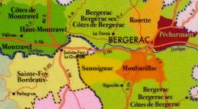 Bergerac Wine Region showing Saussignac and Sigoulès