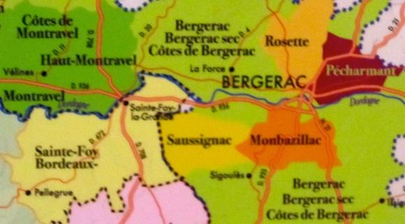 Bergerac Wine Region showing Sigoulès below Saussignac and Monbazillac