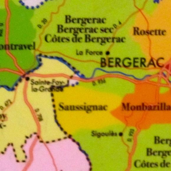 Bergerac Wine Region showing Saussignac and Sigoulès