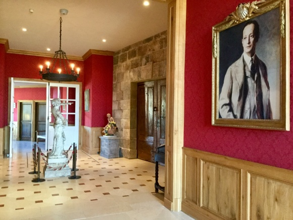 Entrance Hall at Chateau Haut-Brion and portrait of Clarence Dillon