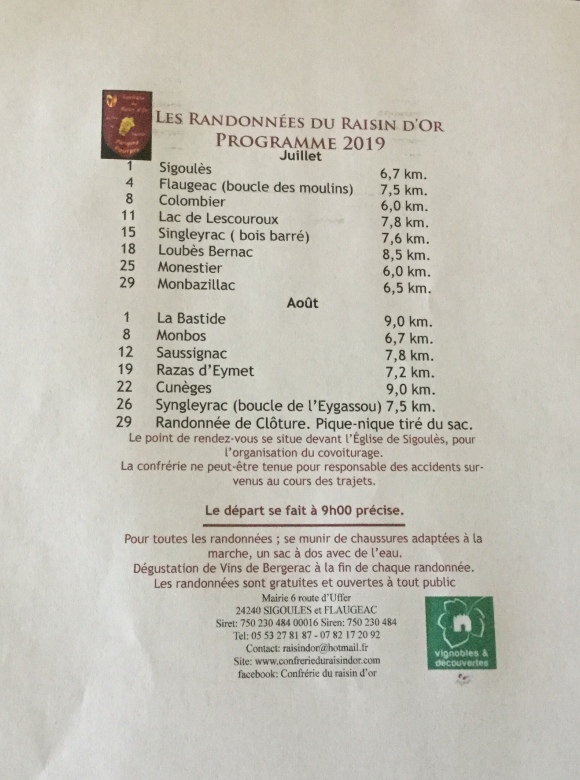 2019 Summer Program of Randonnée du Raisin D'Or