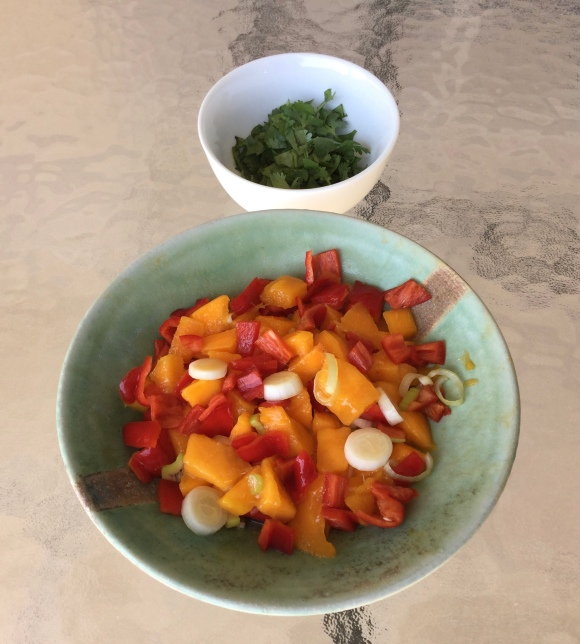 Delicious Mango Salsa with Cilantro on the side